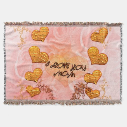 Mother's day, hearts and roses in soft colors throw blanket