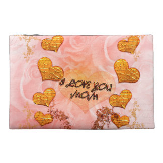 Mother's day, hearts and roses in soft colors travel accessory bag