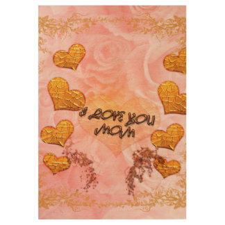 Mother's day, hearts and roses in soft colors wood poster