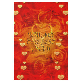 Mother's day, hearts and roses wood poster