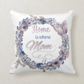 """Mother's Day - """"Home Is Where Mom Is"""" Throw Pillow"""