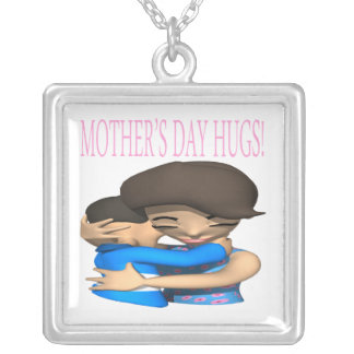 Mothers Day Hugs Silver Plated Necklace