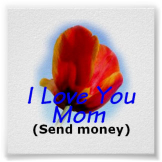Mother's Day I LOVE YOU MOM - Send Money Poster