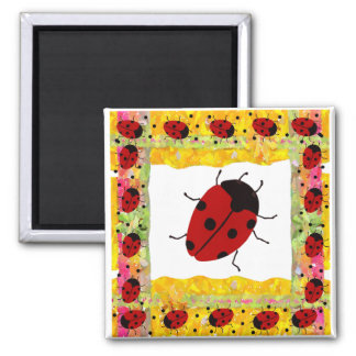 Mother's Day Ladybug 2 Inch Square Magnet
