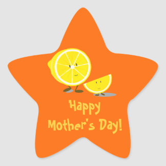 Mother's Day lemon Mom and kid Star Sticker