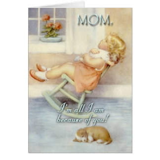Mother's Day, Little Girl , Rocking Chair, Custom Card
