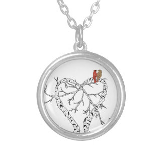 Mother's Day: Love Birds in Heart Tree Round Pendant Necklace