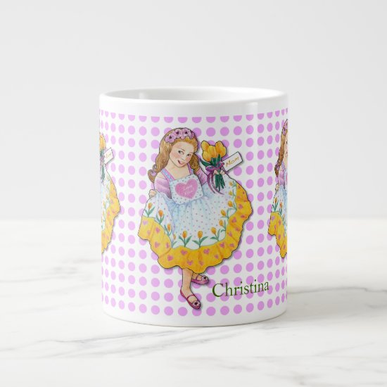 "Mother's Day ""Love You Mom"" Girl with Tulips Large Coffee Mug"