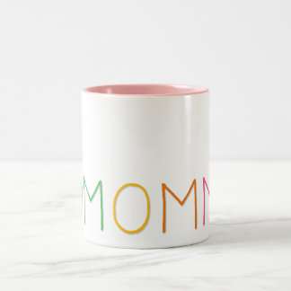 Mothers Day Love You Mom Red Heart Colorful Text Two-Tone Coffee Mug