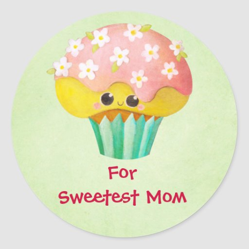 Mother's Day Lovely Cupcake -custom txt- Stickers