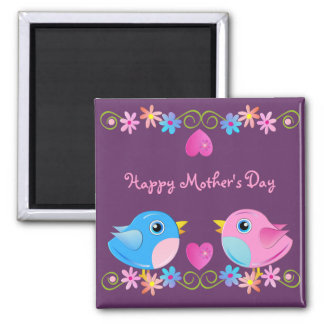Mother's day magnet 2 Baby Birds, hearts & text