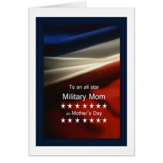 Mother's Day - Military Mom - USA Flag + Poem Greeting Card