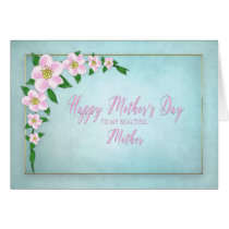 Mother's Day, Mom, Delicate Apple Blossoms on Blue