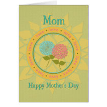 Mother's Day Mom Flowers and Love Greeting Card