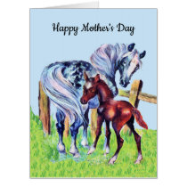 Mothers Day Mom Horse with Colt in Grass Blue Sky Card