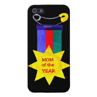 Mother's Day Mom of the Year Medal on Black Case For iPhone SE/5/5s