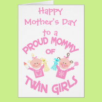 Mother's Day Mom of Twin Girls Greeting Card