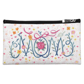 "Mother's Day ""Mom""  Painted in Vine and Flowers Cosmetic Bags"