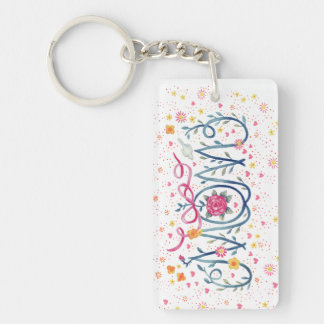 "Mother's Day ""Mom""  Painted in Vine and Flowers Double-Sided Rectangular Acrylic Keychain"