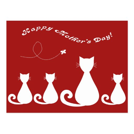 """Mother's Day """"Mother Cat with Kittens"""" Postcard"""