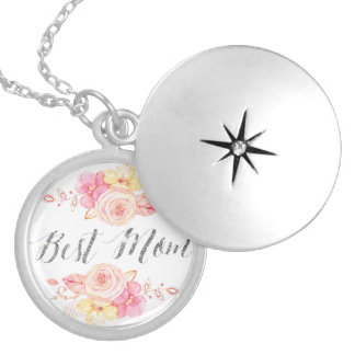 Mothers Day Necklace Locket Silver Glitter Mom