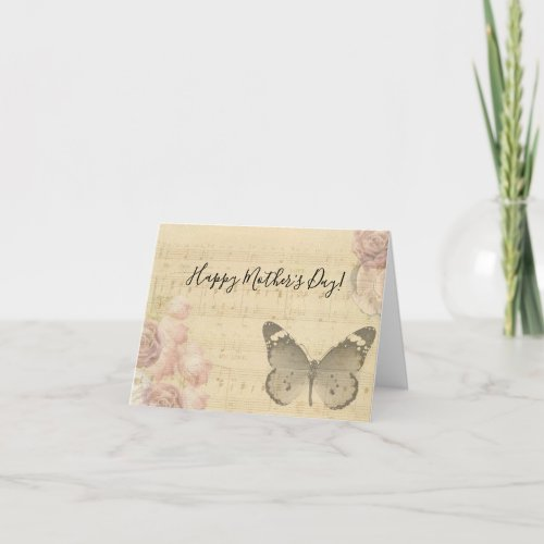 Mother's Day Old Sheet Music Score Roses Butterfly