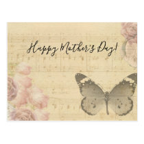 Mother's Day Old Sheet Music Score Roses Butterfly Postcard