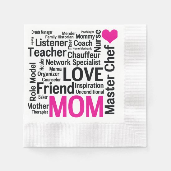 Mother's Day or Mom's Birthday Do-it-All Mother Napkin