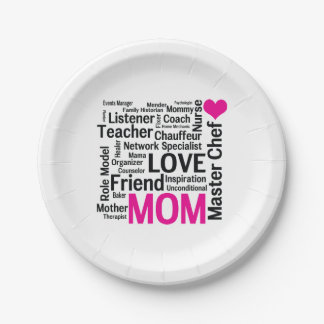 Mother's Day or Mom's Birthday Do-it-All Mother 7 Inch Paper Plate