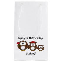 Mother's Day Owl Family Hoot Cartoon Illustration Small Gift Bag