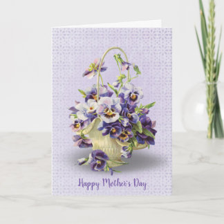Mother's Day pansy basket on eyelet lace Card