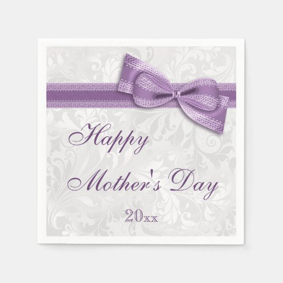 Mother's Day Party Damask and Bow Napkin