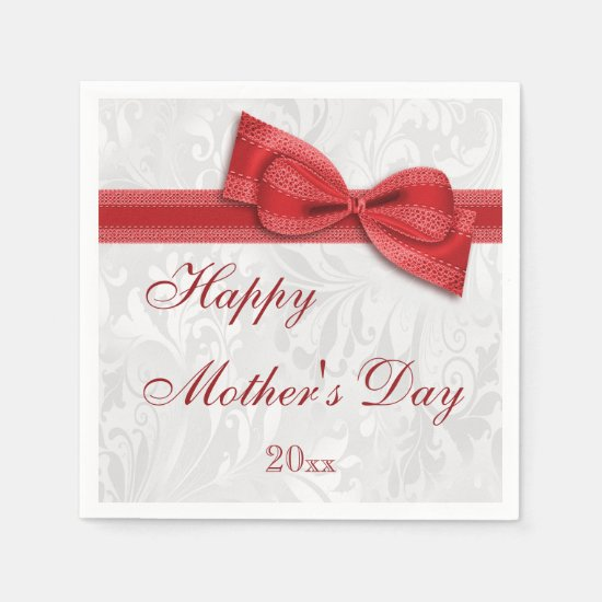 Mother's Day Party Damask and Bow Paper Napkin
