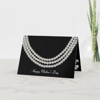 Mother's Day-pearl necklace on black Card