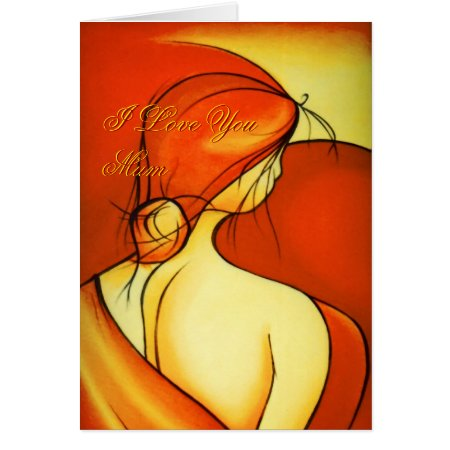 Mother's Day Pensive Lady in Orange card