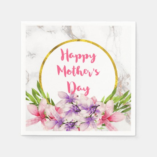 Mother's Day Pink and Purple Watercolor Magnolias Paper Napkin