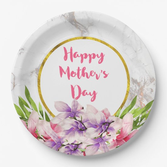 Mother's Day Pink and Purple Watercolor Magnolias Paper Plate