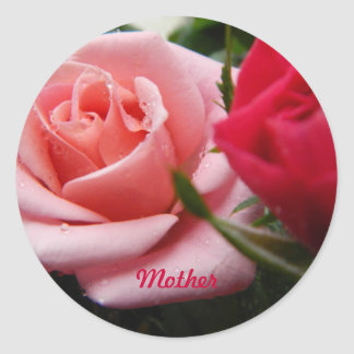 Mothers Day Pink and Red Rose Sticker
