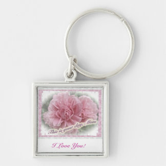 Mother's Day Pink Climbing Rose Blossoms Keychain