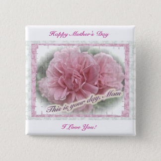 Mother's Day Pink Climbing Rose Blossoms Pinback Button