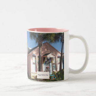 Mother's Day Pink Florida Beach Cottage Two-Tone Coffee Mug