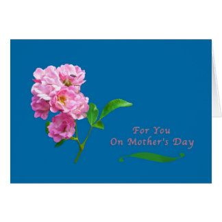 Mother's Day, Pink Garden Roses and Beetle Greeting Card