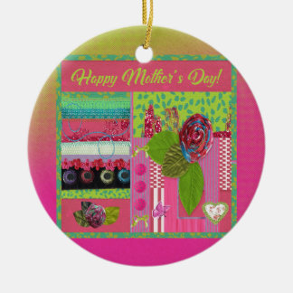 Mothers Day, Pink, Green Cloth Rose Look, Trim, Bo Ceramic Ornament