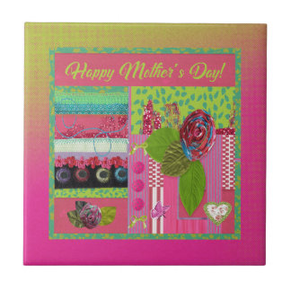 Mothers Day, Pink, Green Cloth Rose Look, Trim, Bo Ceramic Tile