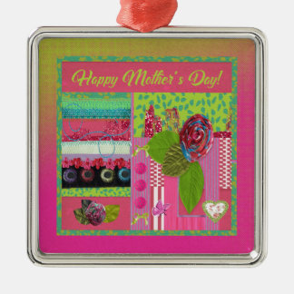 Mothers Day, Pink, Green Cloth Rose Look, Trim, Bo Metal Ornament