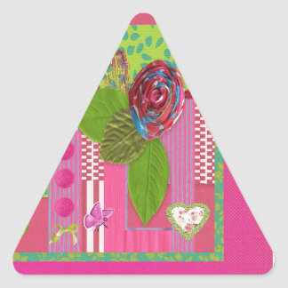Mothers Day, Pink, Green Cloth Rose Look, Trim, Bo Triangle Sticker