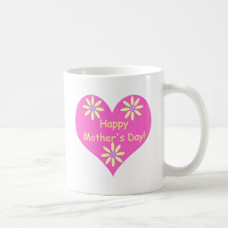 Mother's Day Pink Heart and Yellow Flowers Coffee Mug