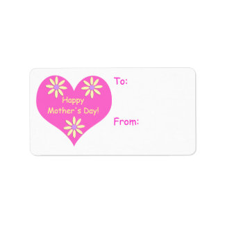 Mothers Day Pink Heart and Yellow Flowers Gift Tag