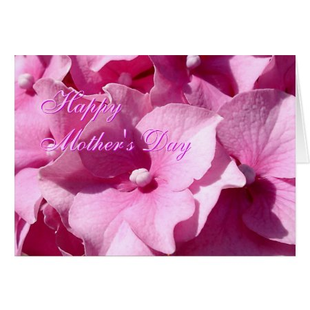 Mothers Day Pink Hydrangea greetings card