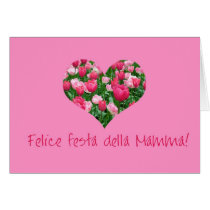 mother's day pink tulip hearts card italian